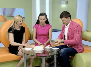 Olga Noskova, author of glossy cakes, on TV show in Ufa, Russia